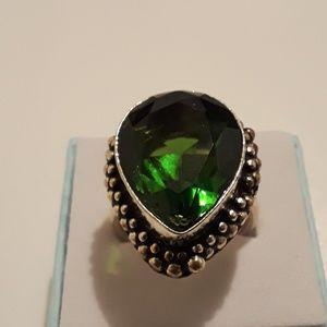 Peridot gemstone pear-shaped ring size 8